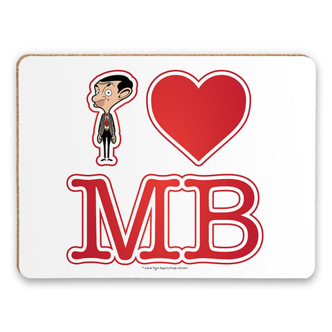 White I Heart Mr Bean Placemat