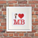 White I Heart Mr Bean White Framed Print (Lifestyle)