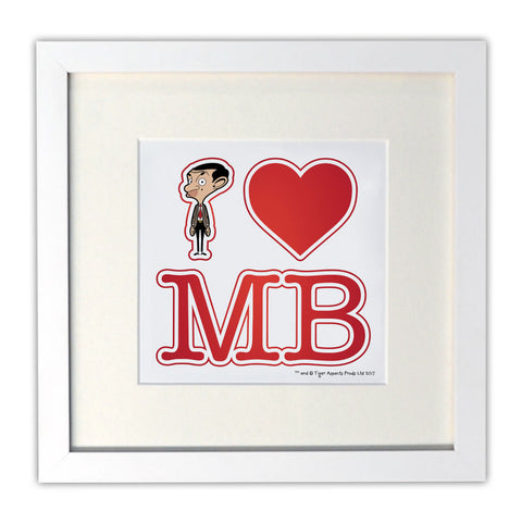 White I Heart Mr Bean Mounted Art Print