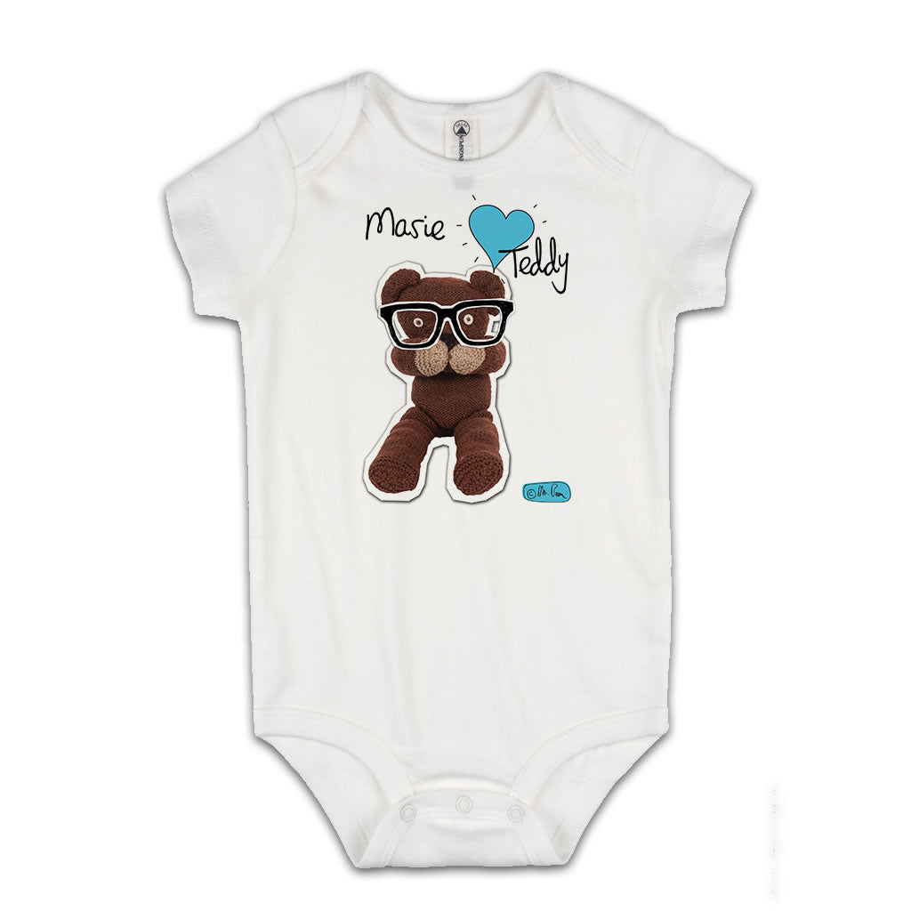 Personalised Heart Teddy Baby Grow