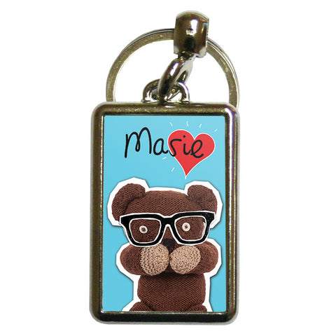 Heart Teddy Metal Keyring