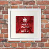 Keep Calm and Bean White Framed Print (Lifestyle)