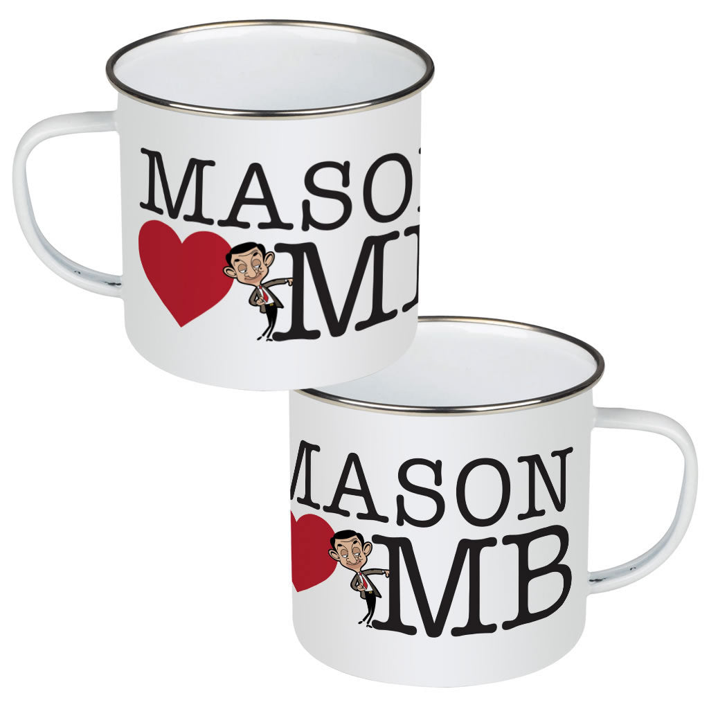 Heart Mr Bean 2 Enamel Mug