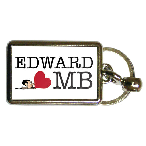 Heart Mr Bean 3 Metal Keyring