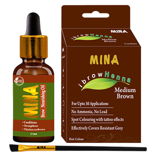 Medium Brown Henna -  Eyebrow Tinting Brush -  Eyebrow Nourishing Oil Combo