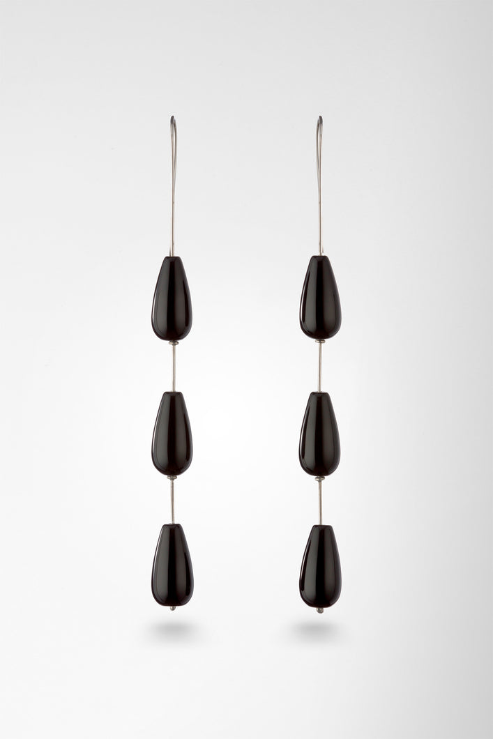 Triple Onyx Drop Earrings