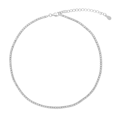 Tennis Choker - Crystal Stones - Silver