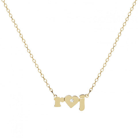 Mini Me Heart Single Diamond - 14K Gold Personalized Custom Necklace - Lola James Jewelry