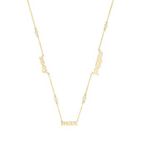 Mini Me Multi Name Short With Diamonds - 14K Gold Personalized Diamond Necklace - Lola James Jewelry