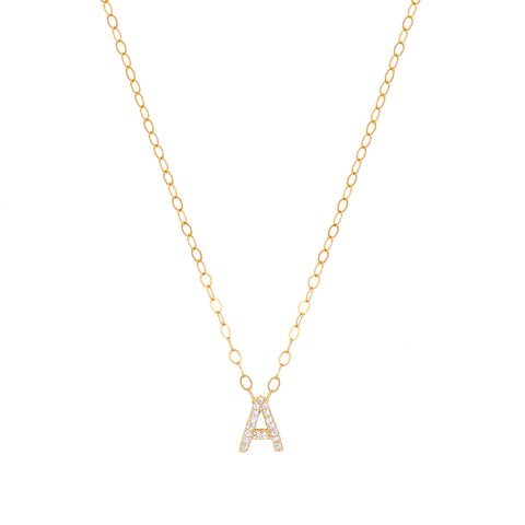 Ice- CZ Single Letters Necklace - Lola James Jewelry