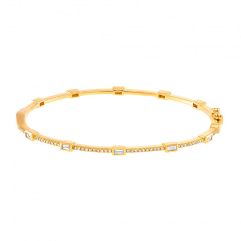 Girls Night Out- Scattered Baguette Diamond Bangle Bracelet- Lola James Jewelry