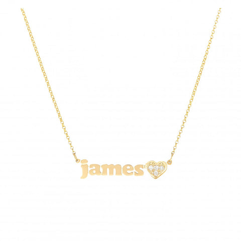 Mini Me - Diamond Heart - Personalized Necklace with Diamond Heart Accent - Lola James Jewelry