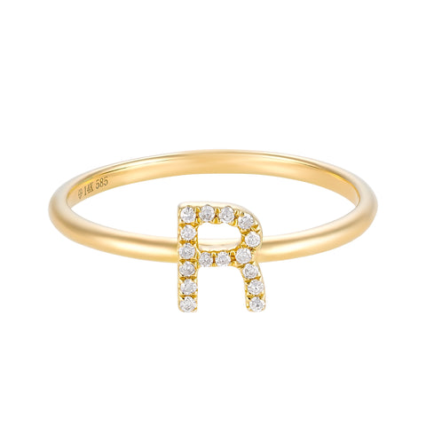 Diamond Initial- Diamond Personalized Initial Ring- Lola James Jewelry