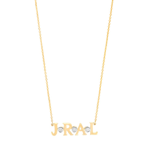 Bubbles- 14K Gold Personal Initial Necklace with Diamond accents- Lola James Jewelry