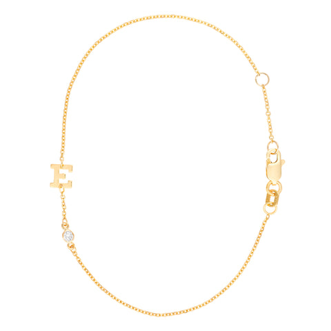 Gold Rush- Diamond Single Initial with Diamond Accent in Chain- Lola James Jewelry