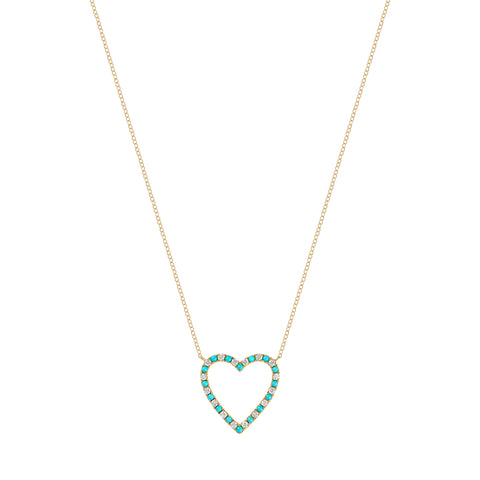 Diamond and Turquoise Open Heart Necklace