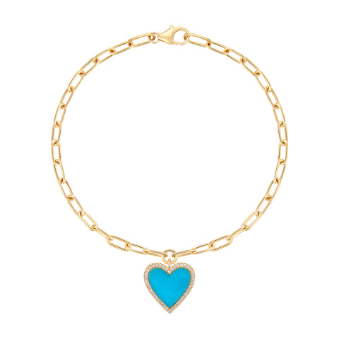 Turquoise and Caicos Dangling Heart Bracelet