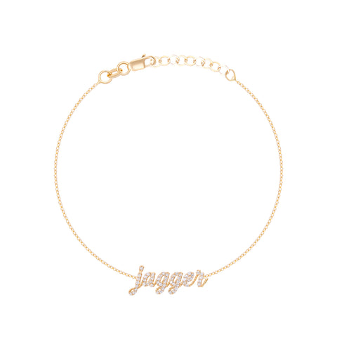 Diamond Script Lowercase Name Bracelet