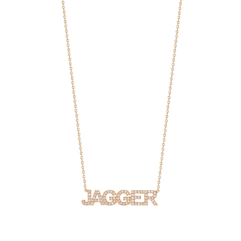 Classic Block Uppercase All Diamond Name Necklace