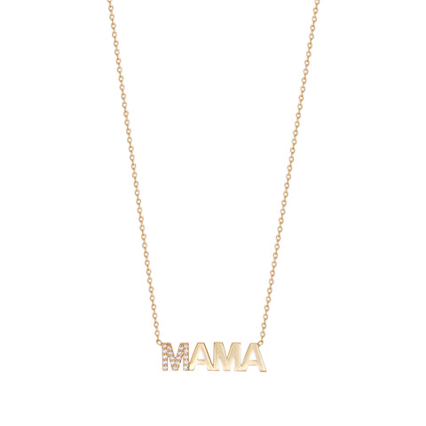 First Letter Diamond Uppercase MAMA Necklace