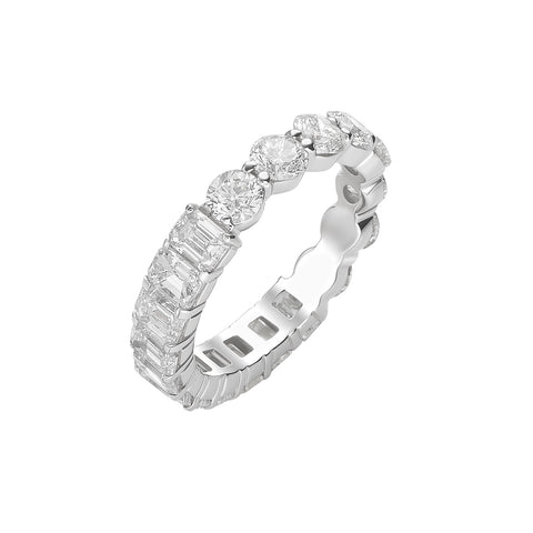Half Emerald Half Round Eternity Band