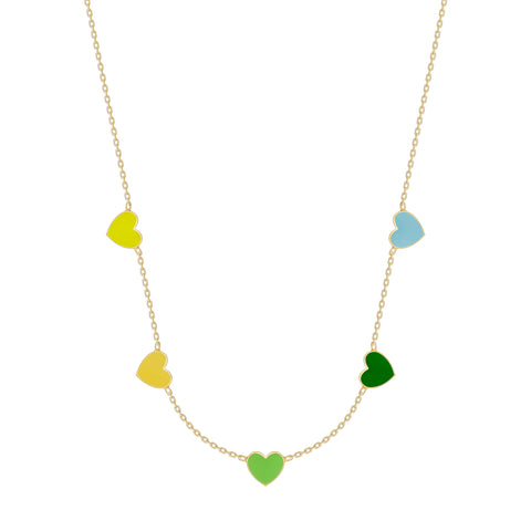Multi Heart Enamel Necklace - 5 Hearts