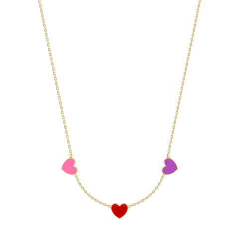 Multi Heart Enamel Necklace - 3 Hearts