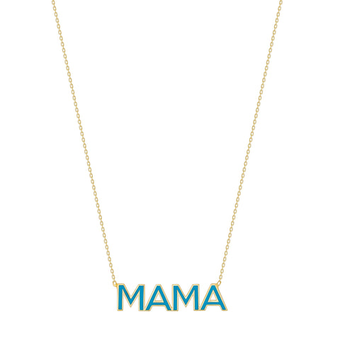 Enamel Name Necklace - 14K