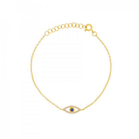 Lucky Eye- Diamond and Sapphire Lucky Eye Bracelet- Lola James Jewelry