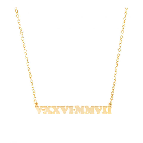 Mini Me Roman Numeral Only - 14k Gold Personalized Necklace - Lola James Jewelry