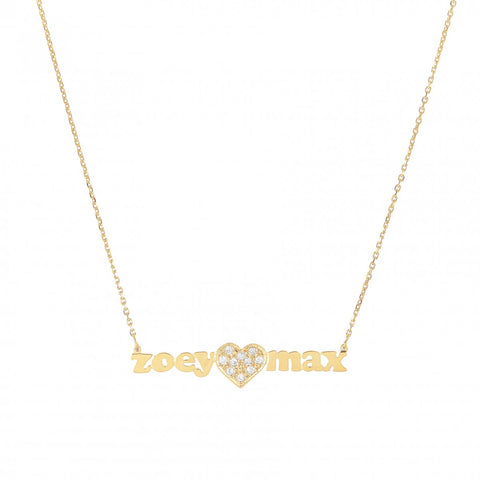 Mini Me Large Diamond Heart - Tiny Gold Name Necklace With Diamond Heart In Center - Lola James Jewelry