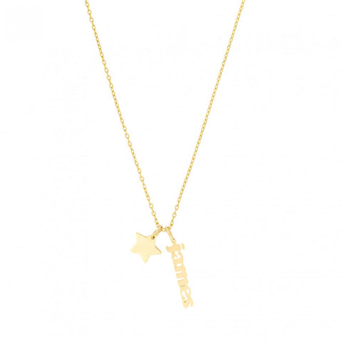 Mini Me + Star Charm- 14k Gold Necklace with Star and Mini Me Name Tag- Lola James Jewelry
