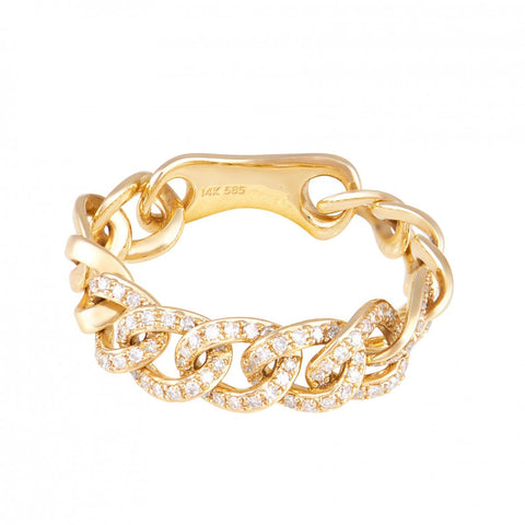 Chain Link Ring- 14k Diamond Chain Link Ring- Lola James Jewelry