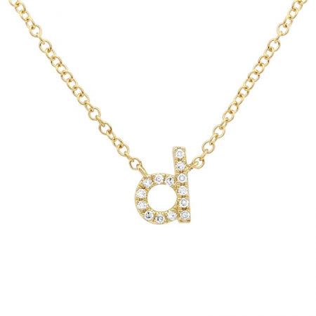Lowercase Diamond Initial- Diamond 14k Gold Lowercase Initial- Lola James Jewelry