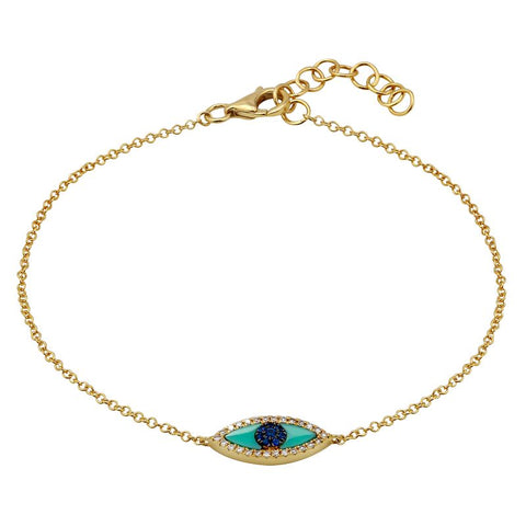 Good Vibes- 14k Gold, Diamond and Turquoise Dainty Bracelet- Lola James Jewelry