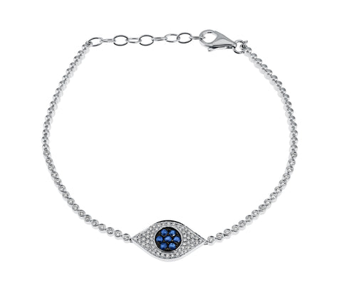 Mykonos- Diamond and Sapphire Micro Pave Encrusted  Evil Eye  Bracelet- Lola James Jewelry