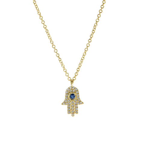 Diamond Hamsa- Diamond Hamsa Necklace-Lola James Jewelry