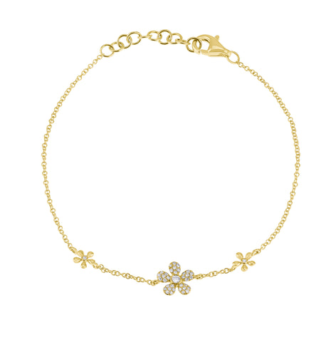 Flower Power- Gold Diamond Multi Flower Bracelet- Lola James Jewelry