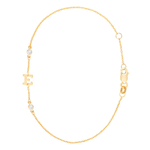 Gold Rush- Diamond single initial with Two Diamond Accents in Chain- Lola James Jewelry