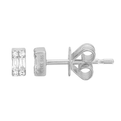 Mini Baguette Stud - 14k White Gold And Diamond Baguette Stud Earrings - Lola James Jewelry