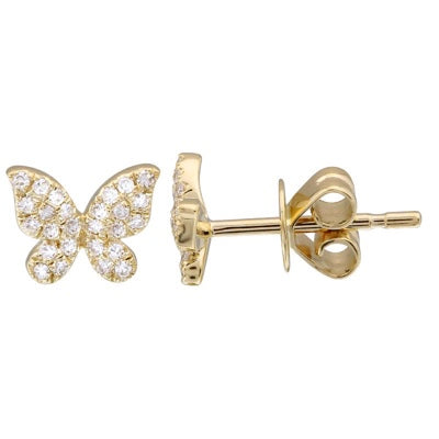 Mini Diamond Butterfly Stud - 14K Yellow Gold and Diamond Stud Earrings - Lola James Jewelry