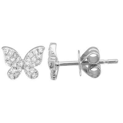 Mini Diamond Butterfly Stud - 14K White Gold and Diamond Stud Earring - Lola James Jewelry