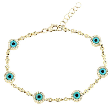 Wish Me Luck - Diamond Multi Evil Eye Bracelet - Lola James Jewelry