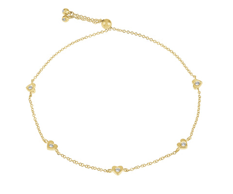 Amore- 14K Gold Heart Bracelet- Lola James Jewelry