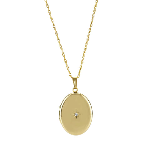 Oval Locket With Diamond Accent