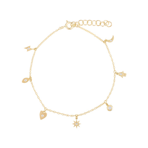Lucky Charms- 14k Gold Charm Bracelet Diamond Accent in Each Charm- Lola James Jewelry