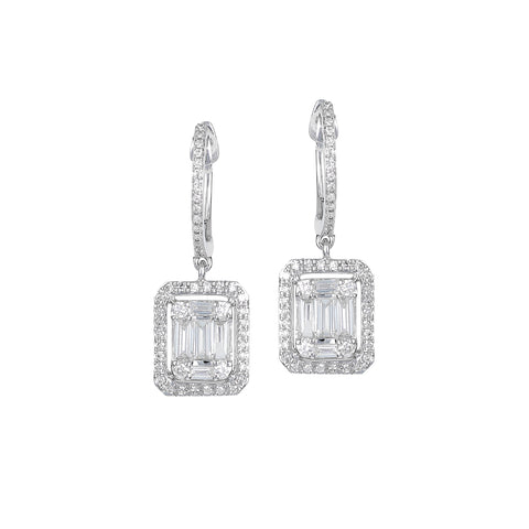 Baguette Me Not Drops- Baguette Drop  Stud Diamond Earrings- Lola James Jewelry