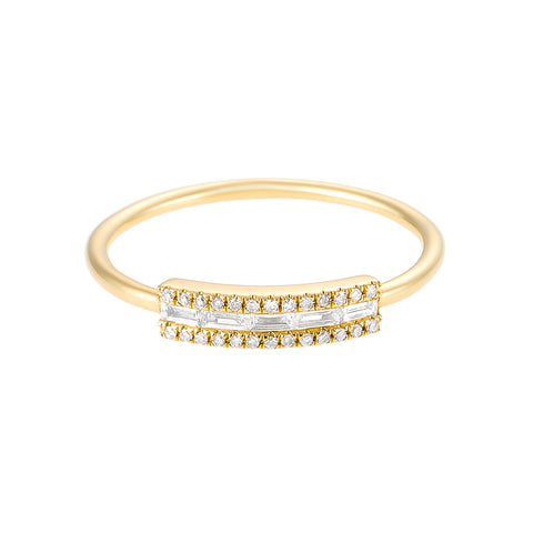 Glam- Baguette Micro Pave Diamond 14k Gold Ring- Lola James Jewelry