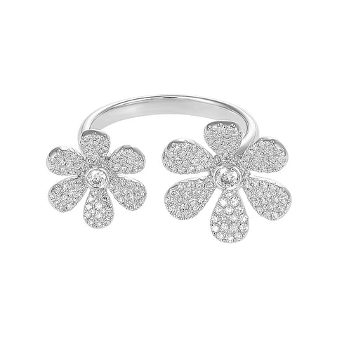Flower Power- White Gold Micro Paved Diamond Flower Ring- Lola James Jewelry