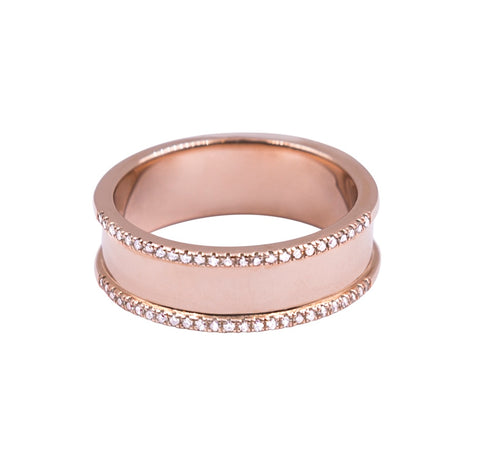Knockout- 14K Rose Gold Band with Diamond Accent- Lola JamesJewelry